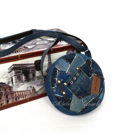 Сумка-таблетка джинсовая женская Geometry ручной работы на заказ
