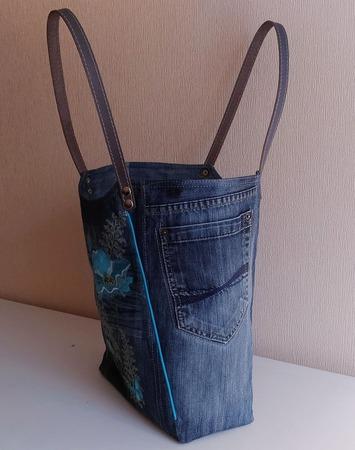 Сумка джинсовая женская Винтажный этюд ручной работы на заказ