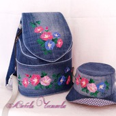 Рюкзак джинсовый женский Петуньи со шляпкой