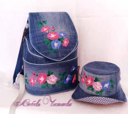 Рюкзак джинсовый женский Петуньи со шляпкой ручной работы на заказ