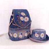 Рюкзак джинсовый женский Летний луг со шляпкой