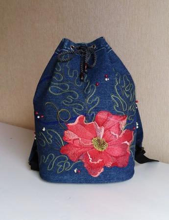Рюкзак джинсовый женский Винтаж ручной работы на заказ