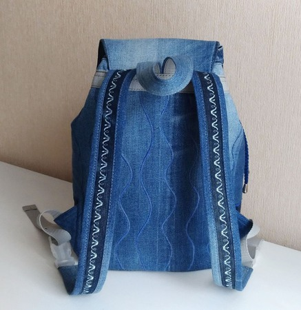 Рюкзак джинсовый женский Зимние узоры ручной работы на заказ