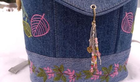 Рюкзак джинсовый женский Краски осени ручной работы на заказ