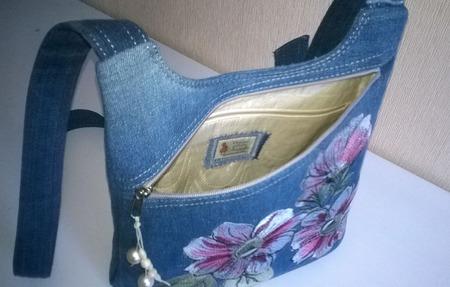 Сумка джинсовая женская  Летний аромат ручной работы на заказ