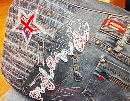Сумка джинсовая дорожная England ручной работы на заказ