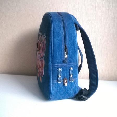 Рюкзак джинсовый женский Совунья ручной работы на заказ