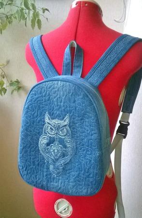 Рюкзак джинсовый женский Owl ручной работы на заказ