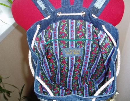 Рюкзак джинсовый Деревенские напевы ручной работы на заказ