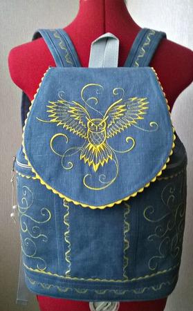 """Рюкзак льняной женский  """"Owl"""" ручной работы на заказ"""