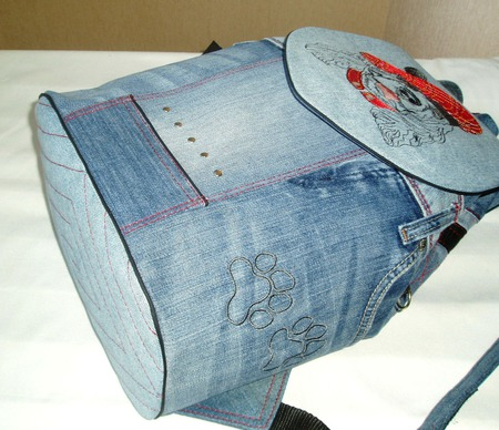 Рюкзак джинсовый Спаниель ручной работы на заказ