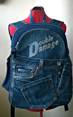 """Рюкзак мужской джинсовый """"Double Damage"""" ручной работы на заказ"""