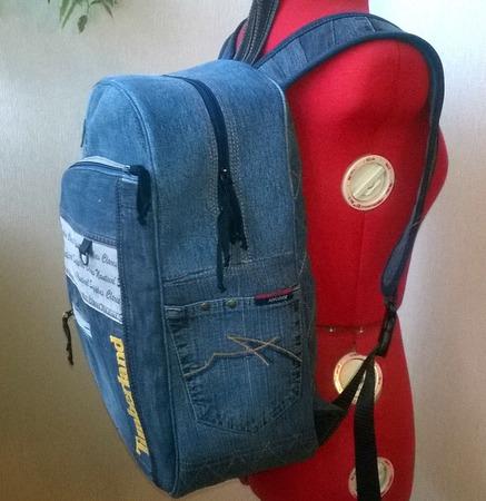 Рюкзак мужской джинсовый Timberland ручной работы на заказ
