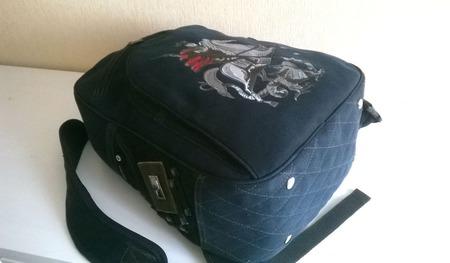 Рюкзак джинсовый мужской Святой Георгий ручной работы на заказ