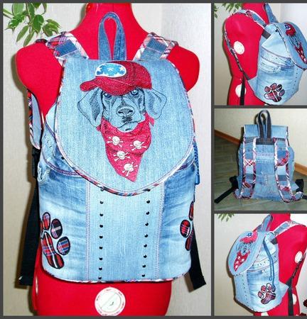 Рюкзак джинсовый Лабрадор ручной работы на заказ