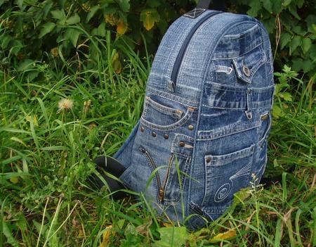 """Рюкзак джинсовый """"Я люблю джинс!"""" ручной работы на заказ"""