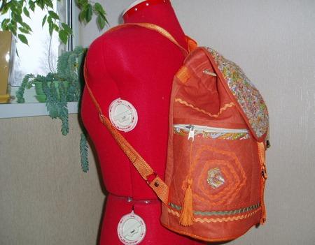 """Рюкзак льняной """"Оранжевое настроение"""" ручной работы на заказ"""