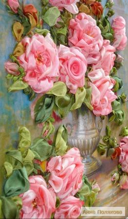 Розы в серебряной вазе ручной работы на заказ