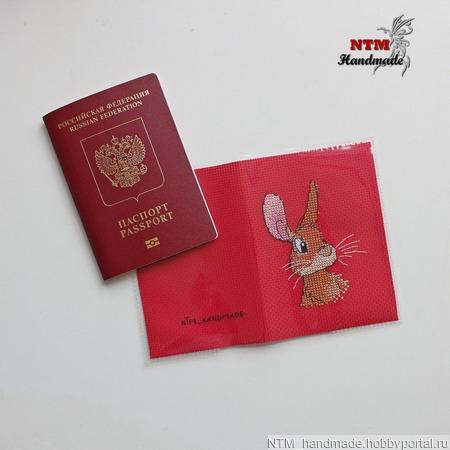 """Обложка на паспорт """"Заяц"""" ручной работы на заказ"""