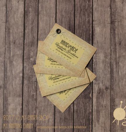 Картонные навесные бирки (ярлыки) с ламинацией ручной работы на заказ