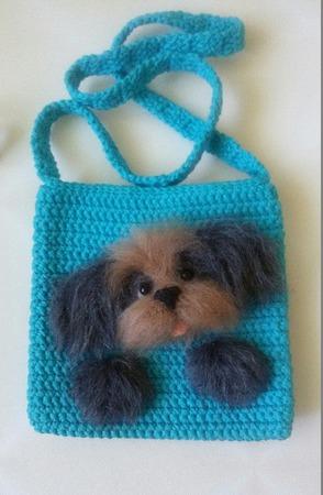 Вязаная сумочка для девочки с собачкой ручной работы на заказ