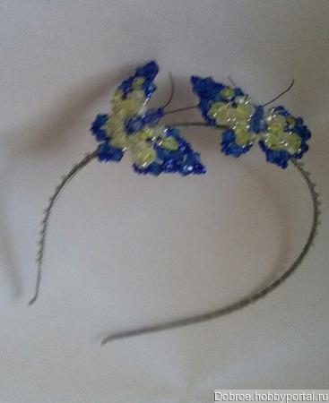 Ободок с бабочками из бусин ручной работы на заказ