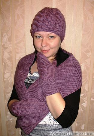 Комплект шапка+шарф+варежки ручной работы на заказ