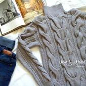 "Вязаный свитер ""Косы"" от Knit by Heart крупной вязки"