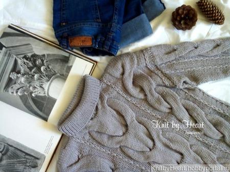 "Вязаный свитер ""Косы"" от Knit by Heart крупной вязки ручной работы на заказ"