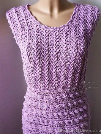 Вязаное ажурное платье ручной работы на заказ