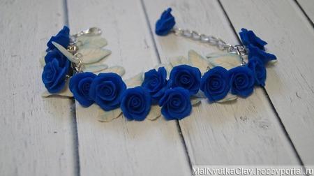 Браслет синие розы ручной работы на заказ