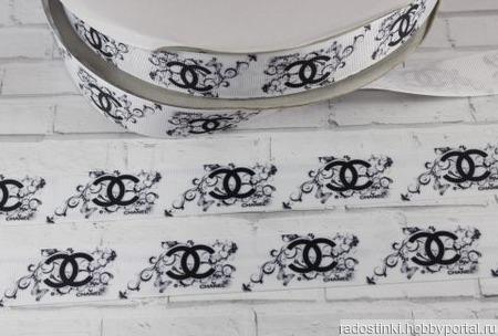 """Лента репсовая с рисунком Шанель"""", 25 мм ручной работы на заказ"""