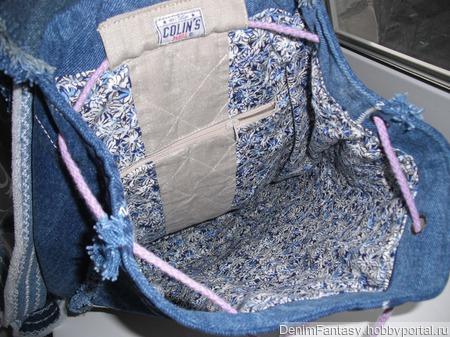 Джинсовый рюкзачок ручной работы на заказ