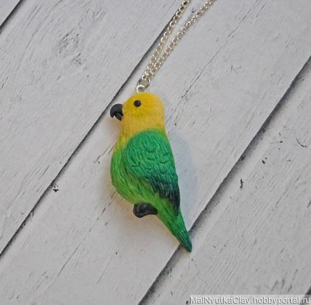 Кулон попугайчик верните лето ручной работы на заказ