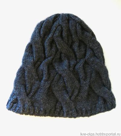 Шапочка с косами из шерсти ручной работы на заказ