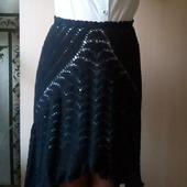 Вязаная крючком черная юбка