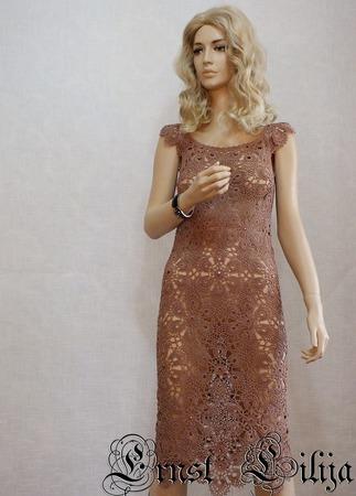 """Летнее вязаное платье   """"Шоколадный каприз"""" ручной работы на заказ"""