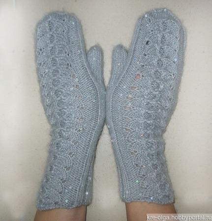 Ажурные рукавички из мохера ручной работы на заказ