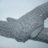 Ажурные рукавички из мохера
