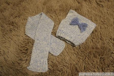 Комплект вязаный: шапочка и шарфик ручной работы на заказ