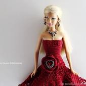 """Ажурное платье """"Бургундская Роза"""" для Барби"""