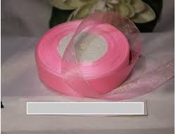 Органза однотонная 25мм цвет розовый ручной работы на заказ