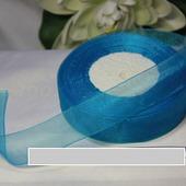 Органза однотонная 25мм цвет голубой