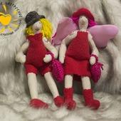 Текстильные куколки Валентинки