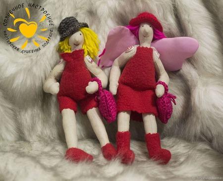Текстильные куколки Валентинки ручной работы на заказ