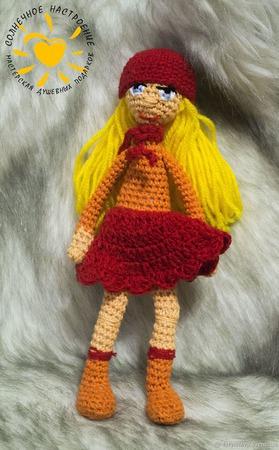 Кукла каркасная амигуруми Веселушка ручной работы на заказ