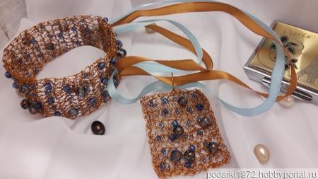 Комплект украшений из бисера и проволоки Бронзовый век ручной работы на заказ