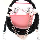 Черный комплект из бисера:жгут+браслет