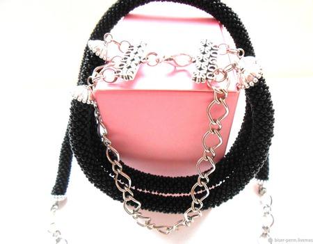 Черный комплект из бисера:жгут+браслет ручной работы на заказ