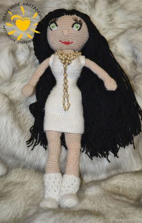 Кукла каркасная в белом платье ручной работы на заказ